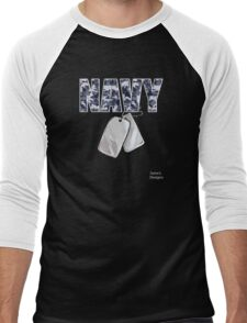 Navy Camouflage w/ Dog Tags Military Men's Baseball ¾ T-Shirt