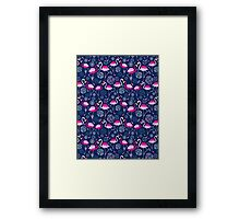 Bright pattern flamingos Framed Print