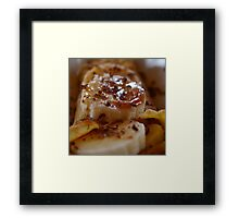 Pancake Dessert With Bananas, Caramel And Whipped Cream Framed Print