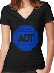 A.D.T adt home office apartment security Women's Fitted V-Neck T-Shirt