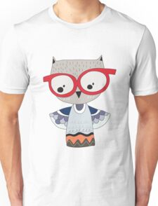 Owl in Red Spectacles Unisex T-Shirt