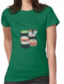 Set of funny Sushi rolls Womens Fitted T-Shirt