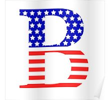 Beta Symbol American Flag Design Poster