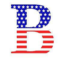 Beta Symbol American Flag Design Photographic Print