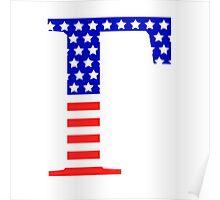 Gamma Symbol American Flag Design Poster