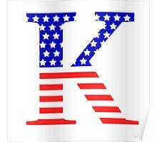 Kappa Symbol American Flag Design Poster