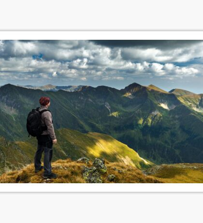 Hiker with backpack on mountains Sticker