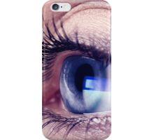 Closeup of woman eye with blue screen reflecting in it art photo print iPhone Case/Skin
