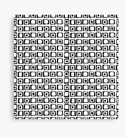 seamless pattern with hand drawn squares and dots, black and white Canvas Print