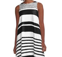 black and white horizontal stripes, fashion texture. A-Line Dress