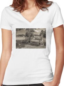 Two Larks And A Lake Women's Fitted V-Neck T-Shirt