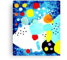 Marine Blue and White Abstract Art Canvas Print