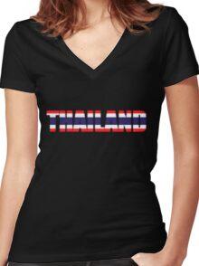 Thailand Thai Flag Women's Fitted V-Neck T-Shirt