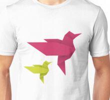 Origami Hummingbird - crimson + lime Unisex T-Shirt