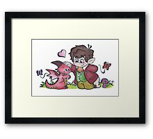 Bilbo and Smaug Framed Print