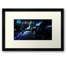 toothless under the aurora  Framed Print