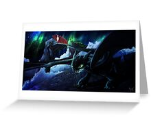 toothless under the aurora  Greeting Card