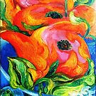 Hummingbird, Frog, Roses, Blue Glass by Barbara Sparhawk