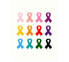 Anti cancer ribbons colorful Designers edition Art Print
