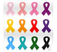 Anti cancer ribbons colorful Designers edition Poster