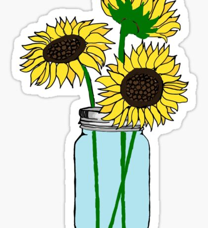 sunflowers in blue jar Sticker