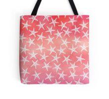 Tropical Starfish Watercolor Wash Pink Orange Guava Red Tote Bag