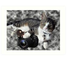 """(CAT) """"SAY CHEESE"""" (MOUSE)""""DID SOMEONE SAY CHEESE?"""" CAT & MOUSE PHOTOGRAPHER - PICTURE & CARD Art Print"""