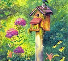 Bird House and Bluebird  by Elaine Bawden