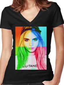 Cara Delevingne pencil portrait 3 Women's Fitted V-Neck T-Shirt