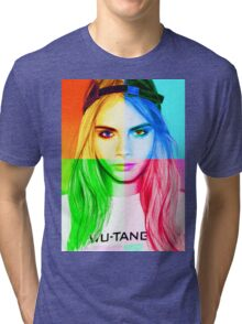 Cara Delevingne pencil portrait 3 Tri-blend T-Shirt