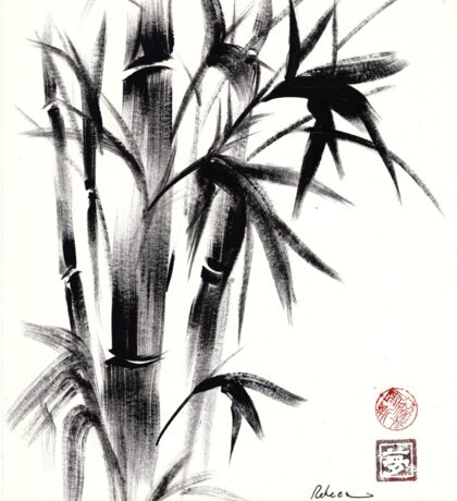 Compassion - Original Zen Spiritual Bamboo painting dedicated to the Dali Lama Sticker
