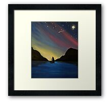 Boat in Rainbow Sunset Framed Print