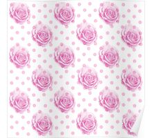 Pretty pink rose pattern Poster