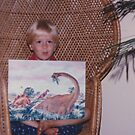 Robbie and the dinosaur painting I did for him by redqueenself