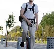 One person, one wheel, commuting to and from work can help change the cycle of our environment La Mirada, CA USA  by leih2008