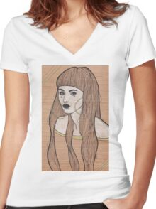Baby Bangs Women's Fitted V-Neck T-Shirt