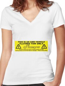 Flatbed Tow Only!! Subaru AWD Women's Fitted V-Neck T-Shirt