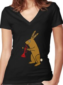 Funky Brown Bunny Rabbit Playing Red Trumpet Women's Fitted V-Neck T-Shirt