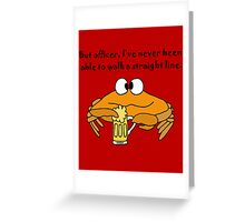 Funny Funky Crab Drinking Beer Cartoon Greeting Card