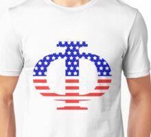 Phi Symbol American Flag Design Unisex T-Shirt