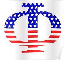 Phi Symbol American Flag Design Poster