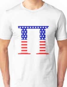 Pi Symbol American Flag Design Unisex T-Shirt