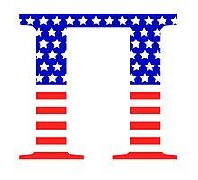 Pi Symbol American Flag Design Photographic Print