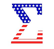 Sigma Symbol American Flag Design Photographic Print