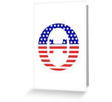 Theta Symbol American Flag Design Greeting Card