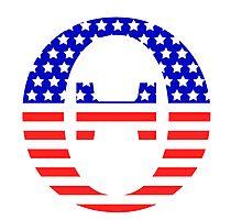 Theta Symbol American Flag Design Photographic Print