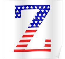 Zeta Symbol American Flag Design Poster