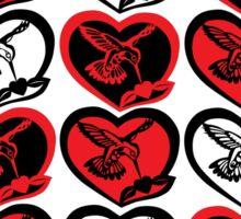 Red, Black, & White Hummingbirds in Hearts Sticker
