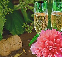 Champagne flutes and peony by GryThunes