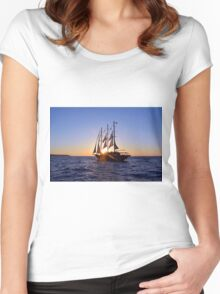 Romantic cruise ship with veils on the Aegean Sea in Santorini, Greece. Women's Fitted Scoop T-Shirt
